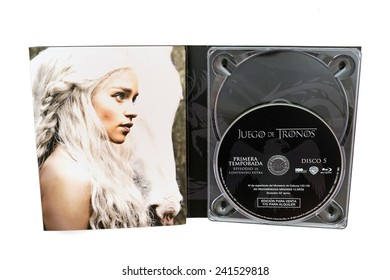 BARCELONA, SPAIN - DEC 27, 2014: Game of Thrones, a famous television series, on Blu-Ray disc, with Daenerys Targaryen (on its cover, isolated on white background.