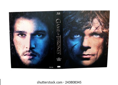 BARCELONA, SPAIN - DEC 27, 2014: Game of Thrones, television series c, on Blu-Ray, with Tyrion Lannister (Peter Dinklage) and Jon Snow (Kit Harington) on its cover, isolated on white background.