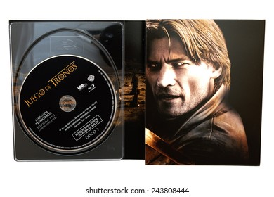BARCELONA, SPAIN - DEC 27, 2014: Game of Thrones, television series created for HBO, on Blu-Ray disc edition, with Jaime Lannister (Nikolaj Coster-Waldau) on its cover, isolated on white background.