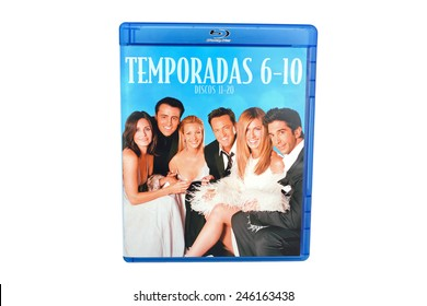 BARCELONA, SPAIN - DEC 27, 2014: Friends, a famous television series  sitcom created by David Crane and Marta Kauffman and produced by NBC, on Blu-ray edition, isolated on white background.