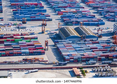 Barcelona, Spain - Dec 30: The Port of Barcelona's Muelle Sur Container Terminal by APM Terminals, located on the Mediterranean sea in the Catalan Region of Spain, in Barcelona on Dec 30, 2011.