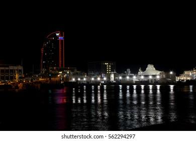 Barcelona, Spain - December 1, 2016: Port at night in Barcelona city in Spain.