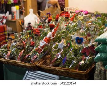 BARCELONA, SPAIN - DECEMBER 10, 2016: Christmas and fortune bouquet of mistletoe