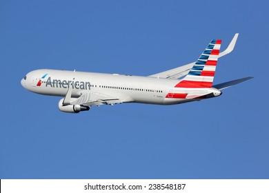 Airline stock images royalty free images vectors shutterstock barcelona spain december 11 an american airlines boeing 767 taking off on december toneelgroepblik Images
