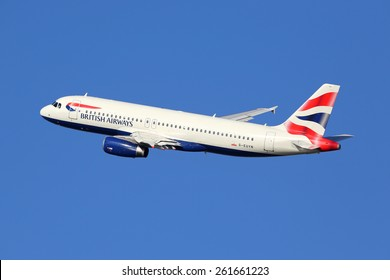 BARCELONA, SPAIN - DECEMBER 11:  A British Airways Airbus taking off on December 11, 2014 in Barcelona. British Airways is the international airline of Great Britain with its headquarters in London.