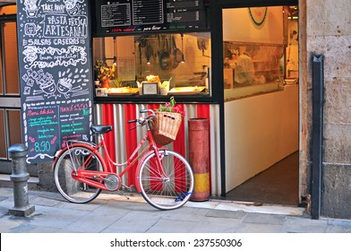 BARCELONA, SPAIN - DECEMBER 12: Bike at local cafe in Barcelona on December 12, 2014.