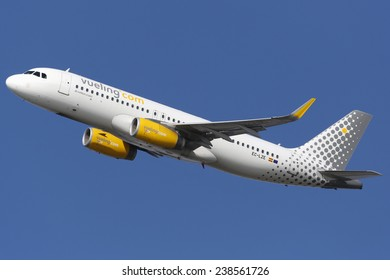 BARCELONA, SPAIN - DECEMBER 12:  A Vueling Airbus A320 taking off from on December 12, 2014 in Barcelona. Vueling is a spanish low-cost airline with some 87 planes in operation.