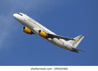 BARCELONA, SPAIN - DECEMBER 12:  A Vueling Airbus A320 taking off from on December 12, 2014 in Barcelona. Vueling is a spanish low-cost airline with its headquarters near Barcelona.