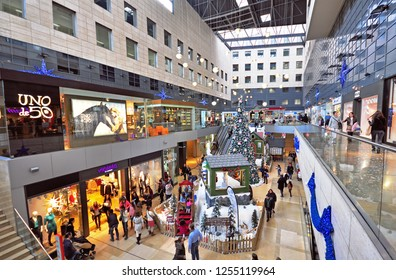BARCELONA, SPAIN - DECEMBER 13: Shopping mall interior in Barcelona with christmas decoration on December 13, 2014. Barcelona is the secord largest city of Spain.