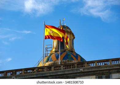 BARCELONA, SPAIN- DECEMBER 14, 2011: Flags of Barcelona and Catalonia on the roof of Government House in Barcelona