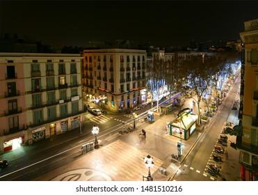 BARCELONA, SPAIN- DECEMBER 14, 2011: Night view of the La Rambla. Catalonia, Spain