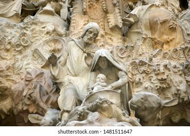 BARCELONA, SPAIN- DECEMBER 15, 2011: Sagrada Familia by Antoni Gaudi in Barcelona Spain