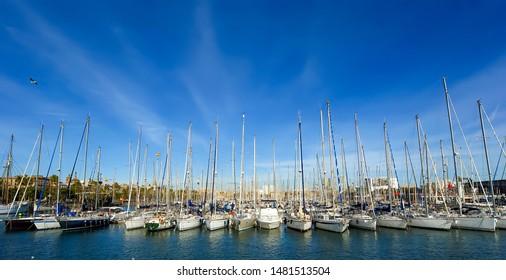 BARCELONA, SPAIN- DECEMBER 15, 2011: Barcelona Harbor near Las Ramblas. Catalonia, Spain