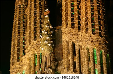 BARCELONA, SPAIN- DECEMBER 15, 2011: Sagrada Familia by Antoni Gaudi in Barcelona Spain. At night