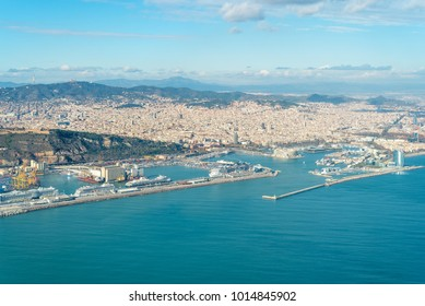 BARCELONA, SPAIN - DECEMBER 15. Aerial view from the city and the harbor of Barcelona on December 15, 2017. Cruise ships have moored at the pier