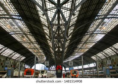 BARCELONA, SPAIN- DECEMBER 16, 2011: Trains at the railroad station (Estacio de Francia) in Barcelona, Spain.