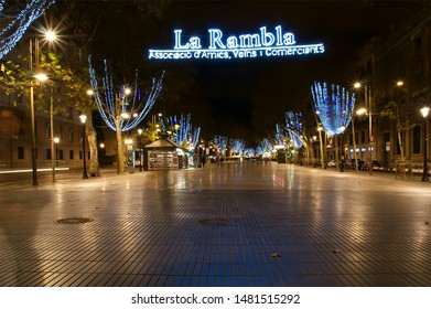BARCELONA, SPAIN- DECEMBER 16, 2011: Night view of the La Rambla. Catalonia, Spain