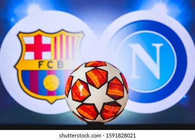 BARCELONA, SPAIN, DECEMBER. 16. 2019: FC Barcelona (SPA) vs SSC Napoli (ITA). UEFA Champions League 2020, Round of 16 UCL football, Knockout stage, playoff, Official Adidas soccer ball 2020.