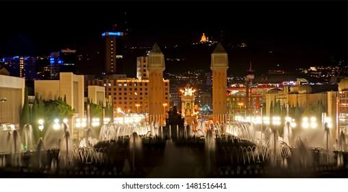 BARCELONA, SPAIN- DECEMBER 17, 2011: The Magic Fountain, Montjuic, Barcelona, Spain.