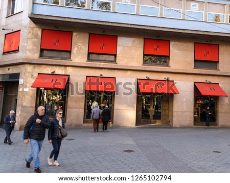 ffc83f913a Barcelona, Spain. December 2018: People walking in front of an official Carolina  Herrera store in Barcelona's luxury shopping street of Passeig de Gracia,  ...