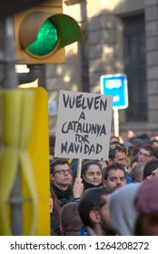 BARCELONA, SPAIN – DECEMBER 21, 2018: Catalans on the street of Barcelona demonstrating against the Spanish government and demanding the release of Catalan political prisoners.