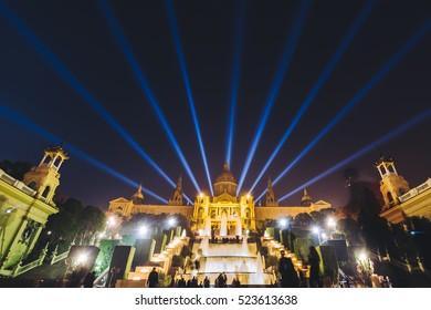 BARCELONA, SPAIN - DECEMBER 25, 2015: Night view of Magic Fountain light show in Barcelona, Spain