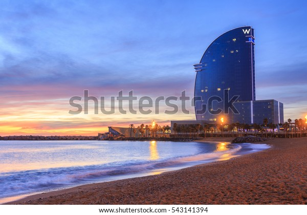 BARCELONA, SPAIN - DECEMBER 25, 2016: Detail of the Hotel W Barcelona located in the Poblenou neighborhood of Barcelona, against blue sky.
