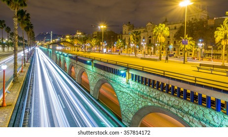 Barcelona, Spain - December 28, 2015: Ronda litoral and Paseig de Colom over the night in Barcelona
