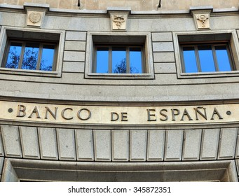 BARCELONA, SPAIN - DECEMBER 29: Facade of Bank of Spain office in Barcelona on December 29, 2014. Barcelona is the secord largest city of Spain.