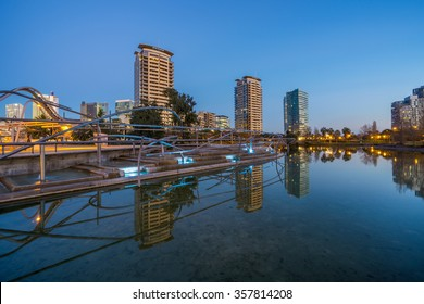 Barcelona, Spain - December 30, 2015: New modern architecture in the Diagonal Mar i el Front Maritim del Poblenou area. This is a new booming area with modern buildings.