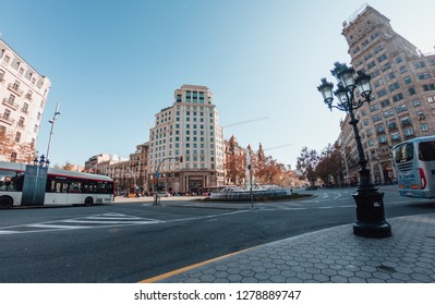 BARCELONA, SPAIN - DECEMBER 30, 2018:  Crossing two of the most important streets of Barcelona, Passeig de Gracia and Gran Via de les Corts Catalanes