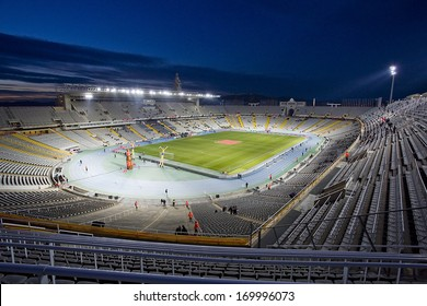 BARCELONA, SPAIN - DECEMBER 30: Stadium view before the friendly match between Catalonia and Cape Verde, final score 4-1, on Decembre 30, 2013, in Olympic stadium Lluis Companys, Barcelona, Spain.