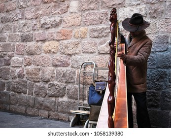 Barcelona / Spain - December 31st 2015: A man plays the harp on the streets on Barcelona.