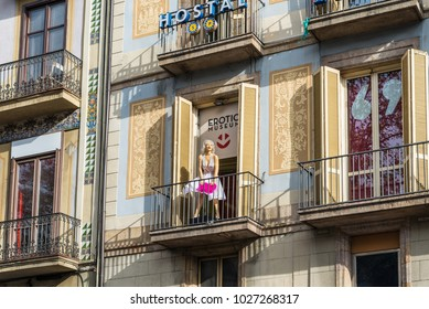 Barcelona, Spain - December 5, 2016: The Erotic Museum of Barcelona is right in the heart of Barcelona. Since its opening in 1997 it is one of the most emblematic spots of the count city.