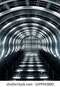 BARCELONA, SPAIN - DECEMBER 6, 2019: New brightness futuristic underground station in Barcelona, Spain.