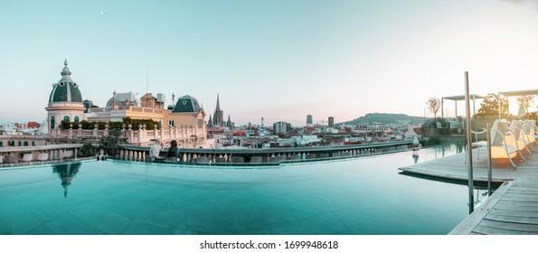BARCELONA, SPAIN - DECEMBER 6 2019: Skyline panorama of the city of Barcelona, Catalonia.