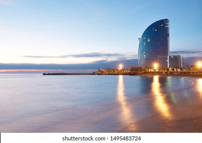Barcelona, Spain - December 9, 2011: Famous Hotel W Barcelona near the beach.
