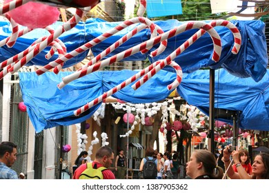 Barcelona, Spain - August 20, 2015: Decorated streets with candies as part of the Gracia Festival (Festes de Gracia) where there is a contest for the best garnished street.