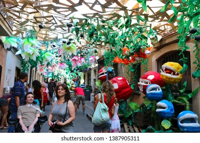 Barcelona, Spain - August 20, 2015: Decorated streets as part of the Gracia Festival (Festes de Gracia) where there is a contest for the best garnished street. Super Mario themed.
