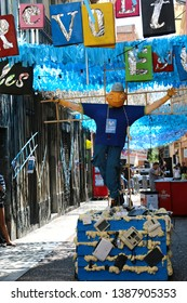 Barcelona, Spain - August 20, 2015: Decorated streets as part of the Gracia Festival (Festes de Gracia) where there is a contest for the best garnished street.