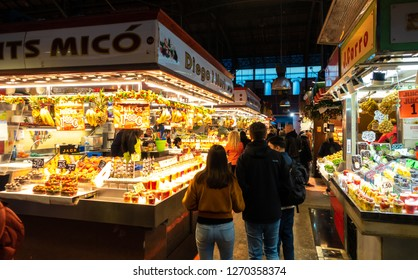 BARCELONA, SPAIN - Dic 1, 2018: Boqueria Market on the Las Ramblas. La Boqueria is the most famous market in Barcelona worldwide. It is located in the center of the city.