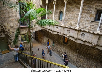 BARCELONA SPAIN EUROPE, JUNE 2017: Inner courtyard of the famous Museu Picasso in Barcelona Catalonia Spain. Located in La Ribera district, it hosts the widest collections of artworks by Pablo Picasso