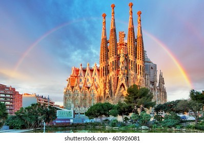 BARCELONA, SPAIN - FEB 10: View of the Sagrada Familia, a large Roman Catholic church in Barcelona, Spain, designed by Catalan architect Antoni Gaudi, on February 10, 2016. Barcelona