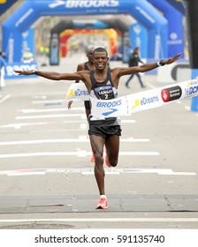 BARCELONA, SPAIN - FEB, 12: Kenyan athlete Leonard Kipkoech Langat finishing during Barcelona Half Marathon in Barcelona on February 12, 2017 in Barcelona Spain