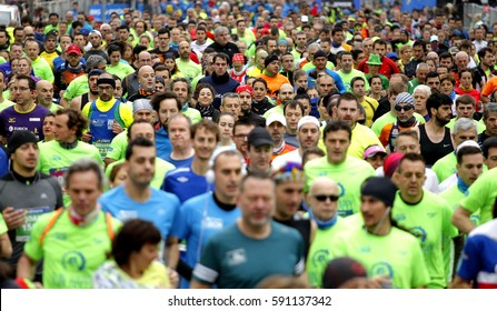 BARCELONA, SPAIN - FEB, 12: Street crowded with runners during Barcelona Half Marathon in Barcelona on February 12, 2017 in Barcelona Spain