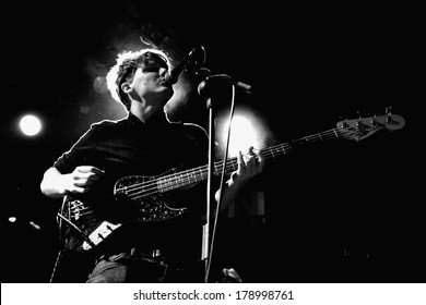 BARCELONA, SPAIN - FEB 17, 2012: The Crookes (indie rock band from Sheffield) performs at Bikini during the 2012 In-Somni Festival