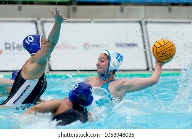 BARCELONA, SPAIN - FEB, 17: Alejandra Aznar of CN Sant Andreu during a Copa Reina match at the J. Valles Swimming Pool on February 17, 2018 in Barcelona, Spain