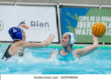 BARCELONA, SPAIN - FEB, 17: Anna Espar(L) of CN Sabadell vies with Alejandra Aznar(R) of CN S. Andreu during a Copa Reina match at the J. Valles Swimming Pool on February 17, 2018 in Barcelona, Spain