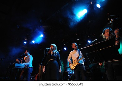 BARCELONA, SPAIN - FEB 17: Evripidis & His Tragedies band performs at Bikini during the 2012 In-Somni Festival on February 17, 2012 in Barcelona, Spain