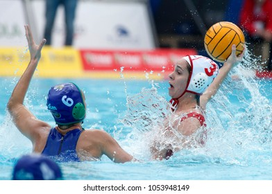 BARCELONA, SPAIN - FEB, 17: Noelia Mora of CN Terrassa in action during a Copa Reina match at the J. Valles Swimming Pool on February 17, 2018 in Barcelona, Spain